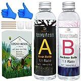 Resina Epoxi - 400g / 360ml Resina Epoxi Transparente para Fundición y Revestimiento - Relación 1: 1 de Resina 2 Componentes para Tableros de Mesa, Fabricación de Joyas, Pintura, Decoración Artesanal