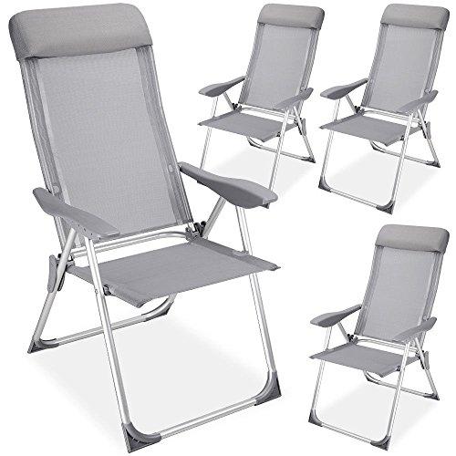 LD 4-delige set aluminium tuinstoel hoge rugleuning klapstoel campingstoel stoel aluminium grijs