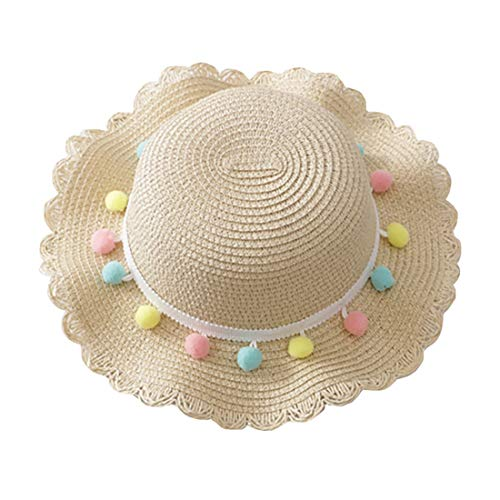 Children Kid Baby Girl Breathable Sun Tassel Balls Straw Hat Beach Cap Fisherman's Hat Sun Hat Visor Cap(2-10 Years) (Beige, Hat Circumference: 48-52cm)
