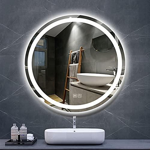 LIGUOYI Espejo Redondo De Pared, Espejo De Baño Antivaho, Espejo LED Premium, Control Táctil Regulable + Función Anti-Niebla con 3 Modos De Color, Grado Impermeable IP65 (Size : 27.5×27.5inch)