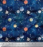 Soimoi Blau Baumwolle Batist Stoff Planet Galaxis Stoff