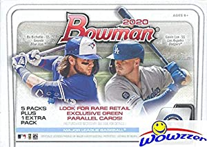 2020 Bowman MLB Baseball EXCLUSIVE Factory Sealed Retail Box with 72 Cards! Look for Rookie Cards & Autos of Jasson Dominguez, Robert Puason, Bobby Witt Jr, Bo Bichette, Gavin Lux & More! WOWZZER!