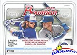 2020 Bowman MLB Baseball EXCLUSIVE Factory Sealed Retail Box with 72 Cards! Look for Rookie Cards & Autos of Jasson Dominguez, Robert Puason, Bobby Witt Jr, ... rookie card picture