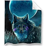 Loong Design Wolf Throw Blanket Soft Fluffy Premium Sherpa Fleece Blanket 50'' x 60'' Fit for Sofa Chair Bed Office Travelling Camping Gift