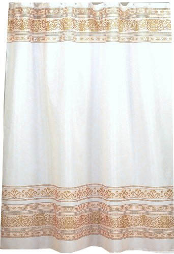 Carnation Home Fashions Fleur Stoff Duschvorhang, Polyester, Gold, 70-Inch by 72-Inch