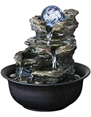 Indoor Fountains Creative Waterfall Desktop Fountain Waterfall LED Light and Rotating Ball Indoor Desktop Decoration (Color : C)