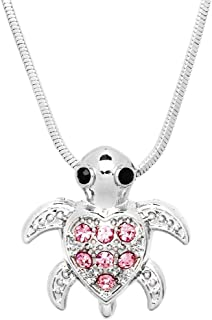 Small Heart Shaped Sea Turtle Charm Pendant Silver Tone Necklace Fashion Jewelry Gift