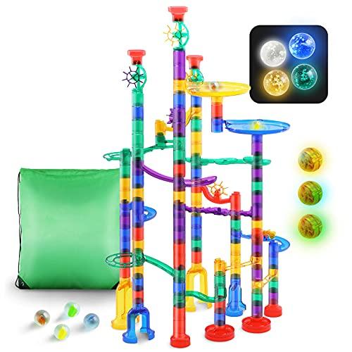 leetoyz Circuito de bolas – 161 piezas multicolor de circuito de canicas Marble Run juego con cuentas iluminadas, juguete de aprendizaje y construcción para niños niñas y niños de 4 años