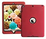 IPad Shockproof Case 3 in 1 Hybrid Rubber Back Cover Shell For New iPad 9.7 inch 2017 Version Model numbers A1822 A1823 MP2G2LL/A MP2J2LL/A MPGT2LL/A MPGW2LL/A MP2F2LL/A MP2H2LL/A Red with Black