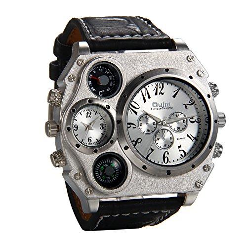 JewelryWe Herrenuhr Übergroß Zwei Zeitzone Kompass Thermometer Kalender Analog Quarz Armbanduhr Schwarz Leder Armband Sportuhr mit Silber Zifferblatt