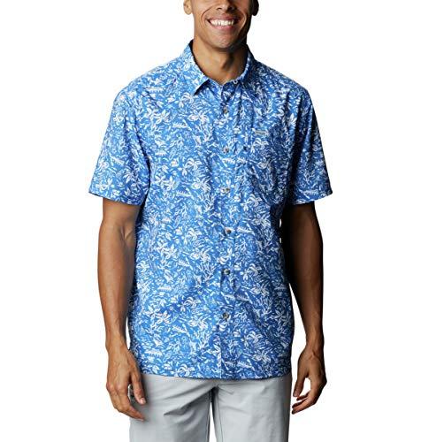 Columbia Super Slack Tide Camp Camisa de Manga Corta para Hombre, Hombre, Super Slack Tide - Camiseta de Campamento, 165376, Impresión de Kona Azul Vivo, 1 Unidad