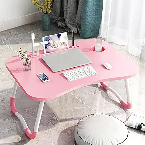 Mesas para ordenador Mesa plegable, plegable portátil soporte de soporte de estudio lámpara mesa USB ventilador escritorio de madera plegable escritorio computadora para cama sofá té sender de mesa
