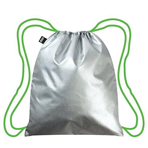 METALLIC Silver Neon Grün Backpack: 43.5 x 34cm