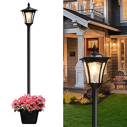 Lovinouse 65 Inch Outdoor Solar Lamp Post Light with Planter, Solar Powered Vintage Street Lights for Driveway Pathway Patio Lawn Garden Yard (65 Inch) (65 Inch)