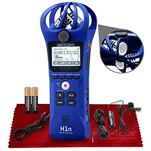 Zoom H1n 2-Input / 2-Track Portable Handy Recorder with Onboard X/Y Microphone (Blue) + Professional Lavalier Microphone & Accessories