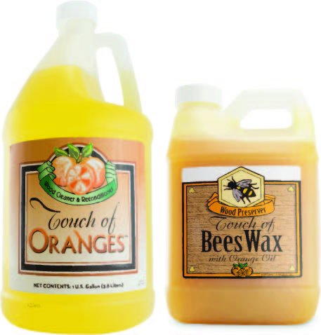 Touch of Oranges Hardwood Floor Cleaner and Touch of Beeswax for Wood Polish Cleaner and Restorer Bundle (1 Gallon Cleaner & 1/2 Gallon Polish)
