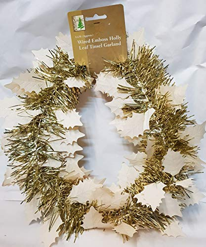 Christmas Magic Gold Wired Emboss Holly Leaf Tinsel Garland 3.6M Approx