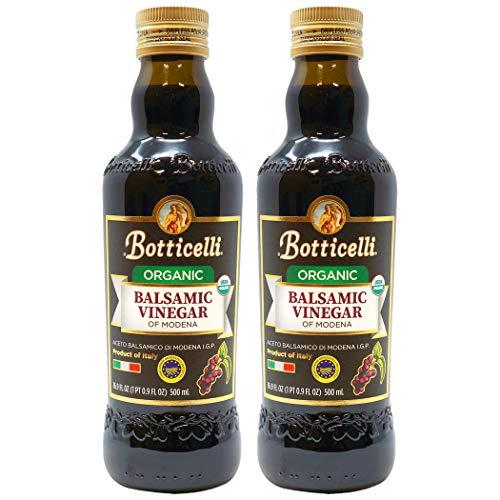 Botticelli Aged Balsamic Vinegar of Modena (Pack of 2) - Organic Balsamic Vinegar for Bread Dipping & Salad Dressing - Aceto Balsamico Tradizionale Di Modena IGP - 16.9oz