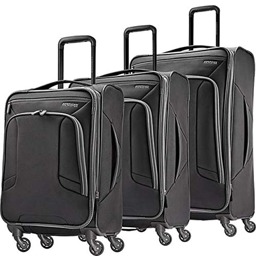 American Tourister 4 Kix Expandable Softside Luggage with Spinner Wheels, Black/Grey, 3-Piece Set (21/25/28)