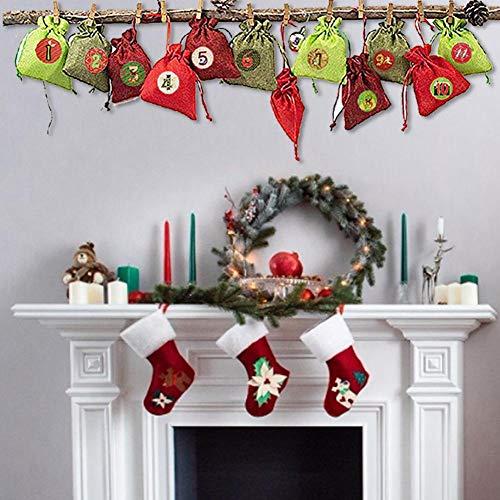 Motto.h 24PCS Calendarios De Adviento, Bolsas De Yute DIY Para Llenar El Calendario De Adviento, Bolsas De Arpillera Bolsas Sorpresa Bolsas De Confitería De Navidad Calendarios De Navidad generous