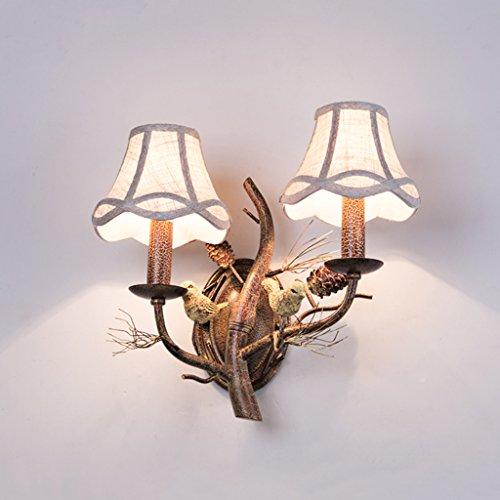 American Village Creative rétro fer chanson Guo oiseau applique murale salon européen chambre lampe de chevet