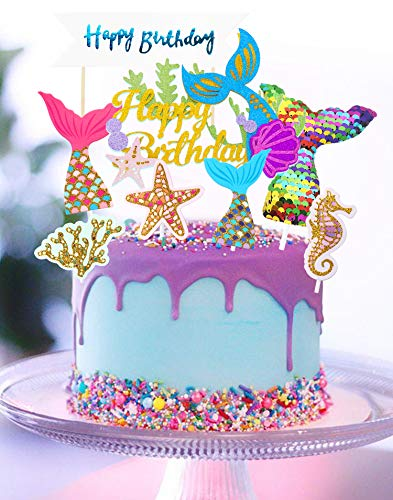 Regendeko Bunt Glitzer Meerjungfrau Tortendeko Ocean Theme Tortenaufleger Kuchendekoration Set Cupcake Cake Toppers Geburtstagskuchen Deko Mermaid Party Themed Decoration Tortendeko Mädchen (Bunt)