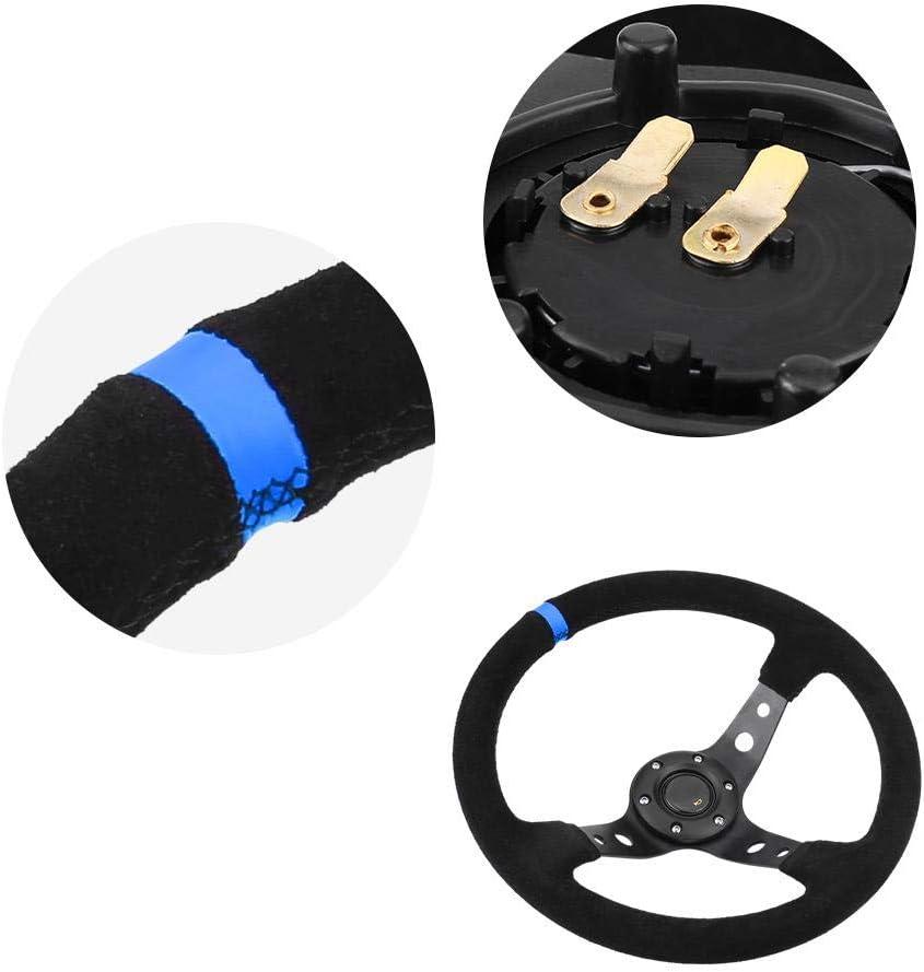 Qiilu Steering Wheel Universal 35cm//14inch 6-Bolts Auto Car Racing Steering Wheel with Horn Blue