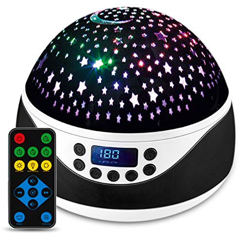 Shayson Star Night Light Projector, Remote Control Projector Night Light for Kids Bedrooms, 8 Colors Changing Options Projector, 360 Degree Rotating Baby Night Light with Timer & Music