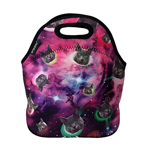 ALLYDREW Insulated Neoprene Lunch Bag Zipper Lunch Box Tote, Cats in Space