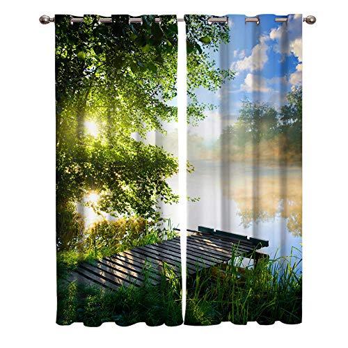 LWXBJX Cortinas Modernas Salon Opacas Dormitorio Modernos - Verde árboles río paisaje - Impresión 3D Aislantes de...