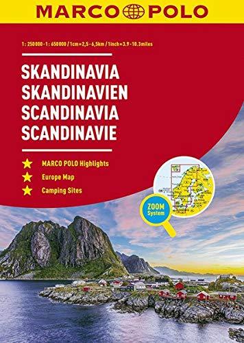 MARCO POLO ReiseAtlas Skandinavien 1:250 000 / 1:650 000 mit Europa 1:4 500 000: (Dänemark, Norwegen, Schweden, Finnland) (MARCO POLO Reiseatlanten)
