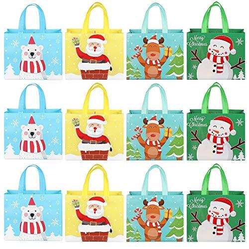 UPKOCH 12 Stück Weihnachts-Einkaufstaschen mit Griffen Weihnachts-Leckerbissen Wiederverwendbare Einkaufstüten Multifunktionale Vlies-Weihnachtstaschen für Geschenkverpackungen zum