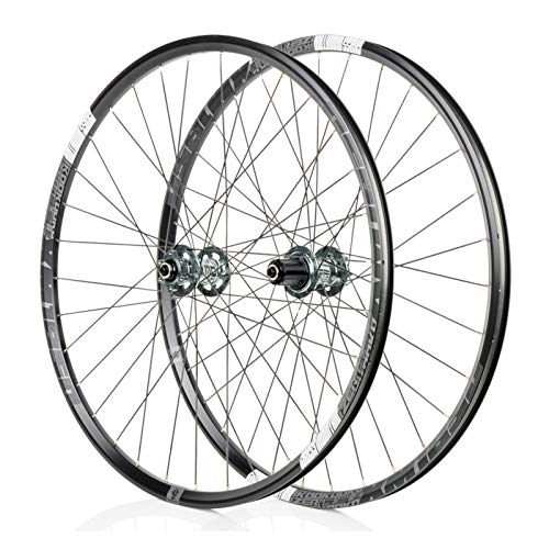 Mountain Bike 26/27.5 Inch Wheel, MTB Aluminum Alloy Wheel, 4D Drilling Process, Bearing F2/R4, 6-jaw 72click System, Suitable, Downhill Bicycle Wheel Parts (Black/Gray)