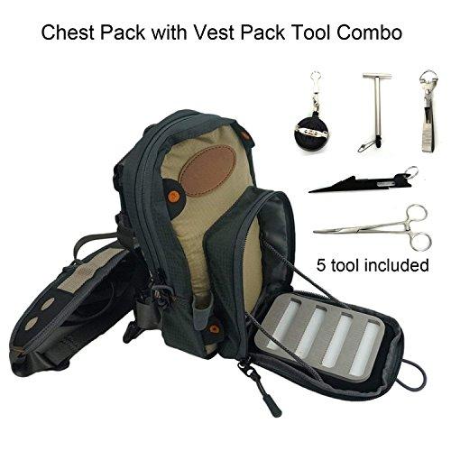 Aventik - Bolsa para pesca con mosca, ultraligera, con múltiples bolsillos, con chaleco, juego de herramientas de pesca