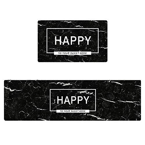 Tappeto Cucina passatoia, Tappeti da Cucina Antistanchezza Ingresso zerbini Macchia Resistente all'olio Impermeabile Resistenza PVC Tappeti Runner (Nero) Decorazione (Color : A, Size : 45X75CM)