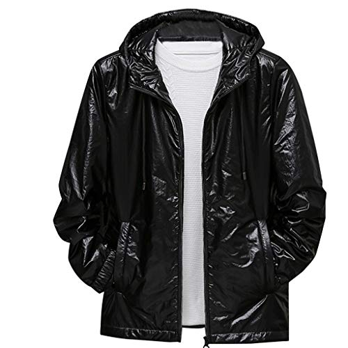 Komise Herren Reißverschluss Winter Pure Color Hoodie Patchwork Verdickte Baumwolle Gepolsterter Mantel