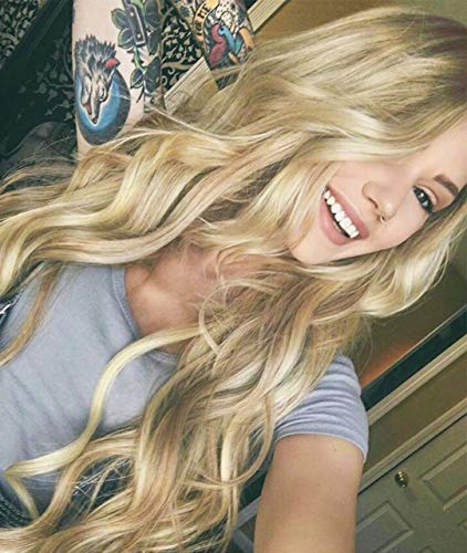EALGA Blonde Wig,Brown Rooted Light Blonde Lace Front Wig for Women Best...