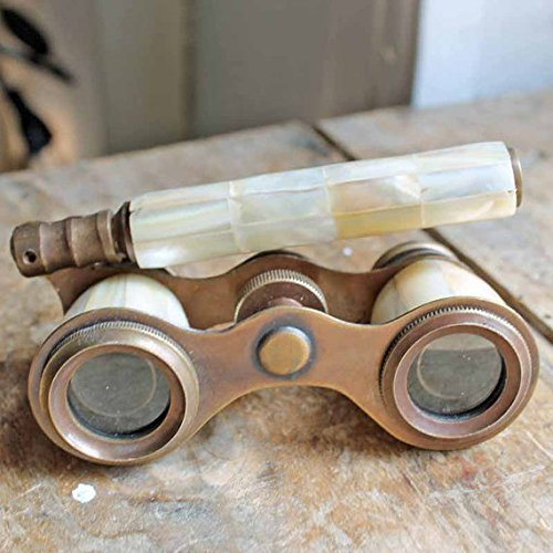 Steampunk Accessories | Goggles, Gears, Glasses, Guns, Mask Brass Binocular Mother of Pearl - Antique Opera Binocular by NauticalMart  AT vintagedancer.com