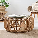 Round Rattan Coffee Table Hand-Woven Portable Living Room Real Rattan Tea Table Modern Minimalist Style Small Wicker Table