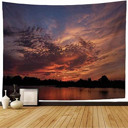 BOIPEEI Tapiz Azul Crepúsculo Silueta Atardecer Tropical Pantano Naturaleza Colorido Negro Rojo Ramas Tapiz de pared Colcha Sábana de picnic 100cm X 70 Cm