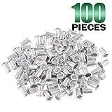 Keadic 100Pcs M3 Metric Rivet Nuts, Aluminum Flat Head Threaded Insert Nutserts for Automotive, Furniture, Decoration