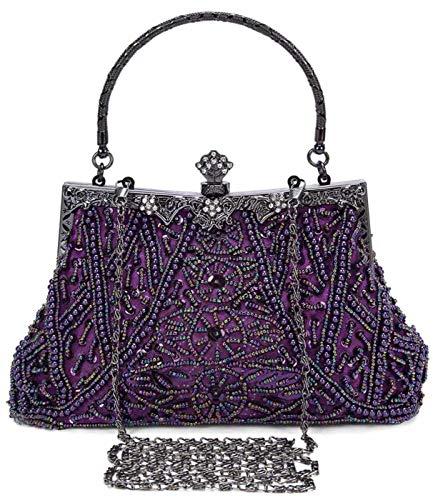 Selighting Abendtaschen Damen Vintage Clutch Tasche mit Perlen Elegant Handtasche Umhängetasche für Party Hochzeit Bankett (Violett)