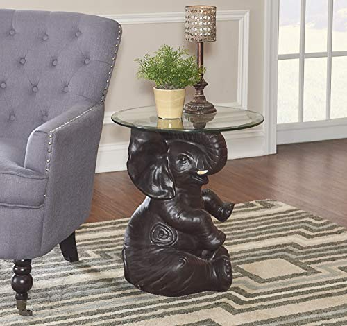 Powell Furniture Ernie Elephant, Dark Brown Accent Table,