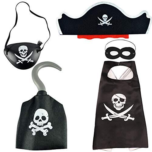 BESTZY 5PCS Disfraz Pirata Niño Niña Pirata Accesorios Sombrero Capa Gancho Pirata Disfraz Halloween Niños Juguetes Temáticos Piratas Accesorios para Carnaval y Cosplay