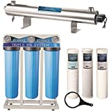 Bluonics 110W Well Water Whole House Filtration Purifier System UV Ultraviolet Light + Sediment & Carbon with NPT 1' Ports 24 GPM UV Sterilizer with 3 Big Blue Size 4.5 x 20 Filters
