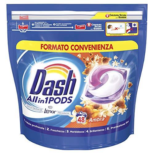Dash All in 1 Pods Detersivo Lavatrice in Capsule, 48 Lavaggi, Profumo d Ambra, Maxi Formato, Rimuove le Macchie, per Tutti i Capi