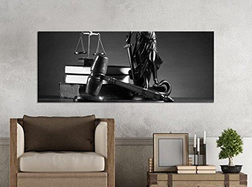 Leinwandbilder 1Tlg 100x40cm schwarz weiß Anwalt Symbol Justitia Hammer Gerichtssaal Leinwandbild Kunstdruck Wand Bilder Vlies Wandbild Leinwand Bild Druck 9Z1658, Leinwandbild Größe:100x40cm