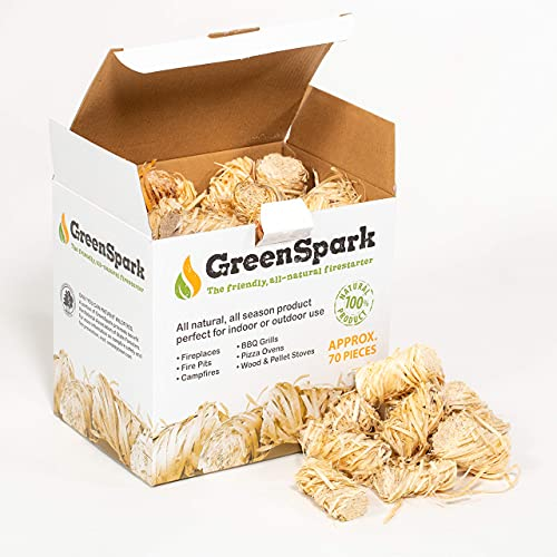 GreenSpark All-Natural Friendly Fire Starter Bundles, 70 Count , 8-10 Min. Burn, Fireplace, Campfire, Fire Pit, BBQ Grill, Wood & Pellet Stove, Indoor/Outdoor, All-Weather, Super Fast Lighting