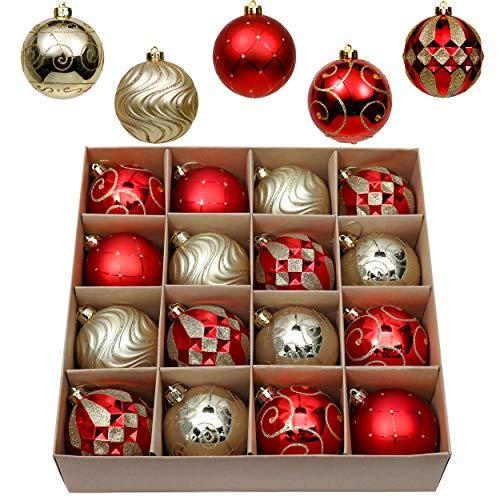 16 Piezas Bolas de Navidad de 8cm, Adornos Navideños para Arbol, Decoración de Bolas de Navidad Inastillable Plástico de Rojo y Dorado, Regalos de Colgantes de Navidad (Lujo)