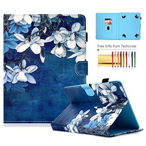 7-inch Tablet Hülle, Techcircle Pretty Folio Stand Cover w/ [Pencil Holder] [Card Slots] Magnetic Protective Hülle for Samsung Galaxy 7.0